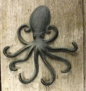 Heavy cast iron octopus towel hanger coat hooks hat hook key rack nautical ebay - Coat hook octopus ...