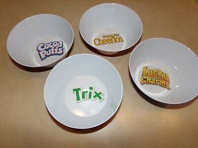 General Mills Cereal Bowls NEW Cheerios,Trix,Cocoa Puffs,Lucky Charms SET Of 4