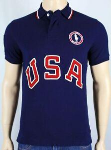 Polo Ralph Lauren Navy Blue Custom Fit USA Olympic Polo Shirt NWT $145