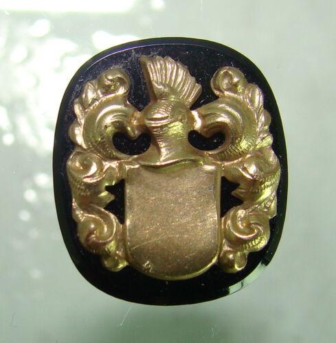 Onyx placa con 333er gelbgoldener applikatur//emblema//sello//16,8 x 14,6 mm