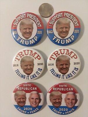 """2020 DONALD TRUMP for PRESIDENT 2.25/"""" CAMPAIGN BUTTON PIN MEMORABILIA 6-pack"""