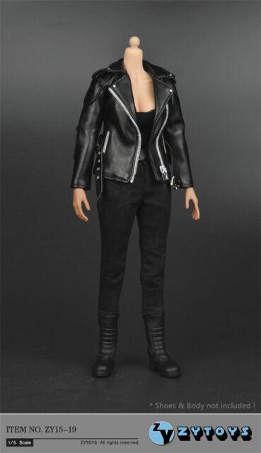 1//6 Black Leather Jacket Suit Set For Arnold Terminator T-800 TV01C Male Figure