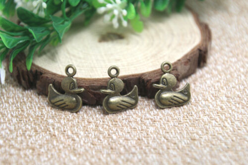 15pcs duck charm bronze Tone rose 2 sided duck charm pendants 18x16mm