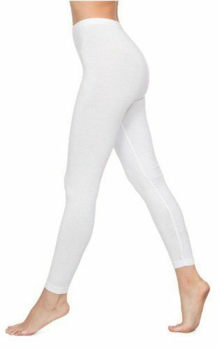 Ladies Deluxe White Quality Cotton Legging Full Length Brand Leggings Small 8-10