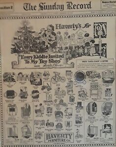1926-Vintage-Newspaper-Haverty-039-s-Christmas-Toys-Santa-Claus-Letter-Dabney-Barnes
