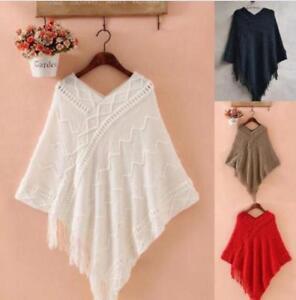 Women-039-s-Tassels-Cardigan-Loose-Sweater-Poncho-Knitwear-Outwear-Coat-Tops-Loose
