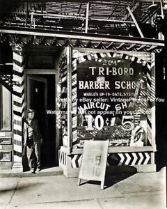 Old-Antique-New-York-City-Barber-Pole-Shop-Hair-Cut-Hot-Razor-Shave-1935-Photo