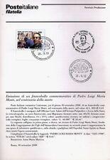ITALIA 2000 PADRE LUIGI MARIA MONTI  BOLLETTINO COMPLETO DI FRANCOBOLLI FDC