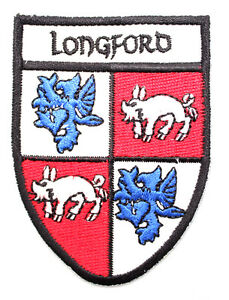 Irish Longford Crest Shield Embroidered Iron / Sew-on Cloth Badge Patch Appliqué