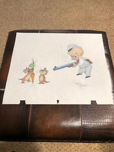 Virgil-Ross-Sketch-Elmer-Fudd-And-The-Goofy-Gophers-RARE-Signed-12-5x10-5