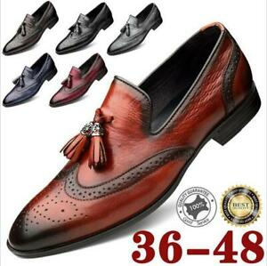 Men-039-s-Casual-Loafers-Slip-on-Moccasin-Leather-Oxfords-Brogue-Shoes-Dress-Formal