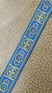 Vintage-Vestment-Sastreria-Galloon-Borde-Dorado-Cruz-en-Azul-1-6cm-Ancho-9-Yrds