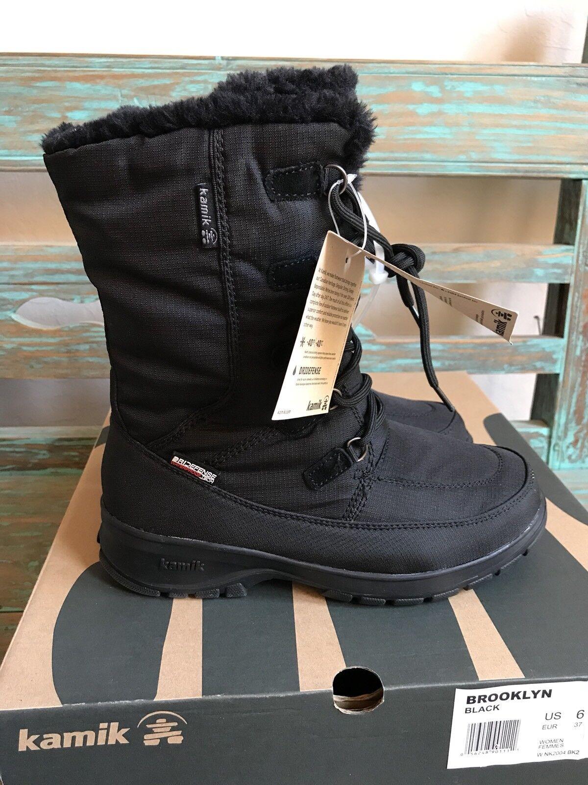 Kamik Nylon BROOKLYN Waterproof Snow Stiefel Nylon Kamik Winter Lace-Up Damens's 3c6561