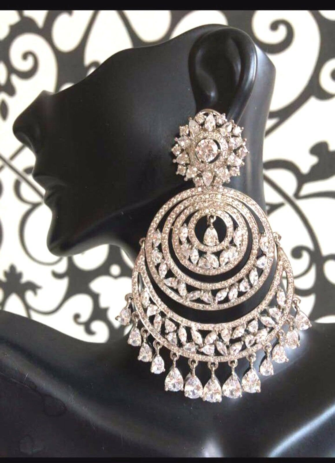 Ethnic Bollywood Style Bridal Jewelry Indian CZ Earring AD Earrings gold Plated