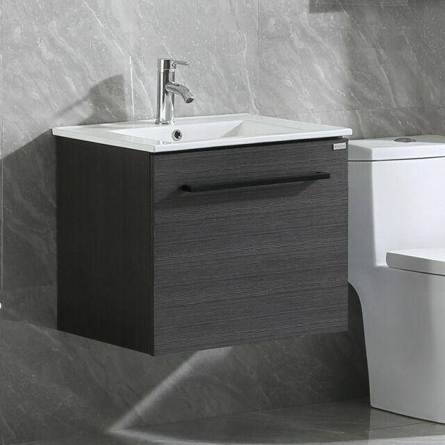 """24"""" Wall Mount Bathroom Vanity Black Wood Cabinet + Sink ..."""