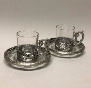 Pair of Espresso Glass Cup in Metal Silver Filigree Small Flowers Pewter Holder
