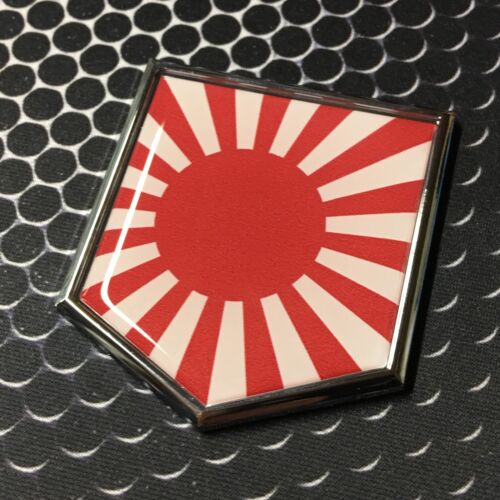 "Japan Flag Domed CHROME Emblem Proud Flag Car 3D Sticker 2/""x 2.25/"" Nippon"