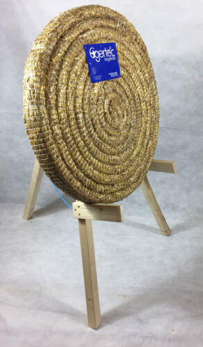 85cm Egertec Round Coiled Archery Straw Target Boss & Wooden Stand Package