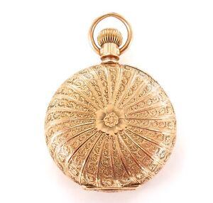 SUPERB-CASE-14K-GOLD-1893-ELGIN-0S-7J-LADIES-POCKET-WATCH