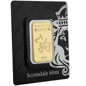 '2018 1oz .9999 Gold Bar Year of the Dog in Certi-LOCK COA #A440' from the web at 'https://i.ebayimg.com/images/g/vqoAAOSwyXNaD3l2/s-l300.jpg'