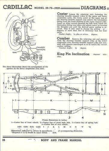 1939 Cadillac 39-75 NOS Frame Dimensions Alignment Spec   eBay