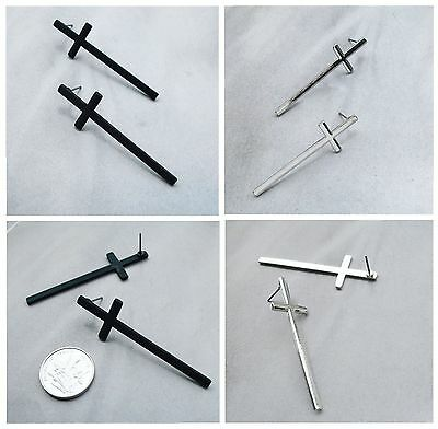 Lady Fashion Charming Silver or Black Oil Plated Cross Pin Stud Earrings Gift