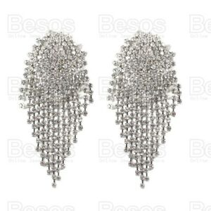 OVERSIZE LARGE SPARKLY CRYSTAL EARRINGS 11cm statement glitzy silver rhinestone