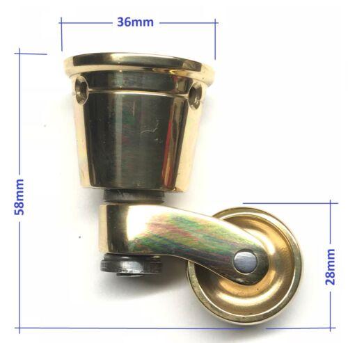Set of 4-28mm Wheel Antique Furniture Solid Brass Castors Casters UK