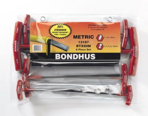 13187 Bondhus USA 8 Pièce Métrique T-poignée Ball End Hex Key Set /& Wallet