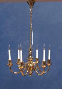 1/12 Scale, Dolls House Light Six Bras Deluxe Brass Chandelier Miniature Lamp Lgw Adopter Une Technologie De Pointe