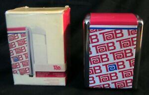 Tab-Coca-Cola-Coke-2-Sided-Spring-Loaded-Metal-Napkin-Dispenser-w-Original-Box