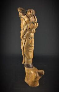 Statuette-en-bois-de-noye-ancienne-insolite-de-style-Salvador-Dali-signe-50cm
