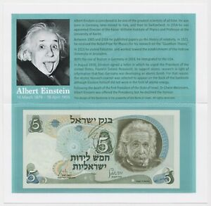 Albert-Einstein-5-Israel-Lirot-1968-Banknote-P34b-UNC-Tribute-Folder-Gift-Holder