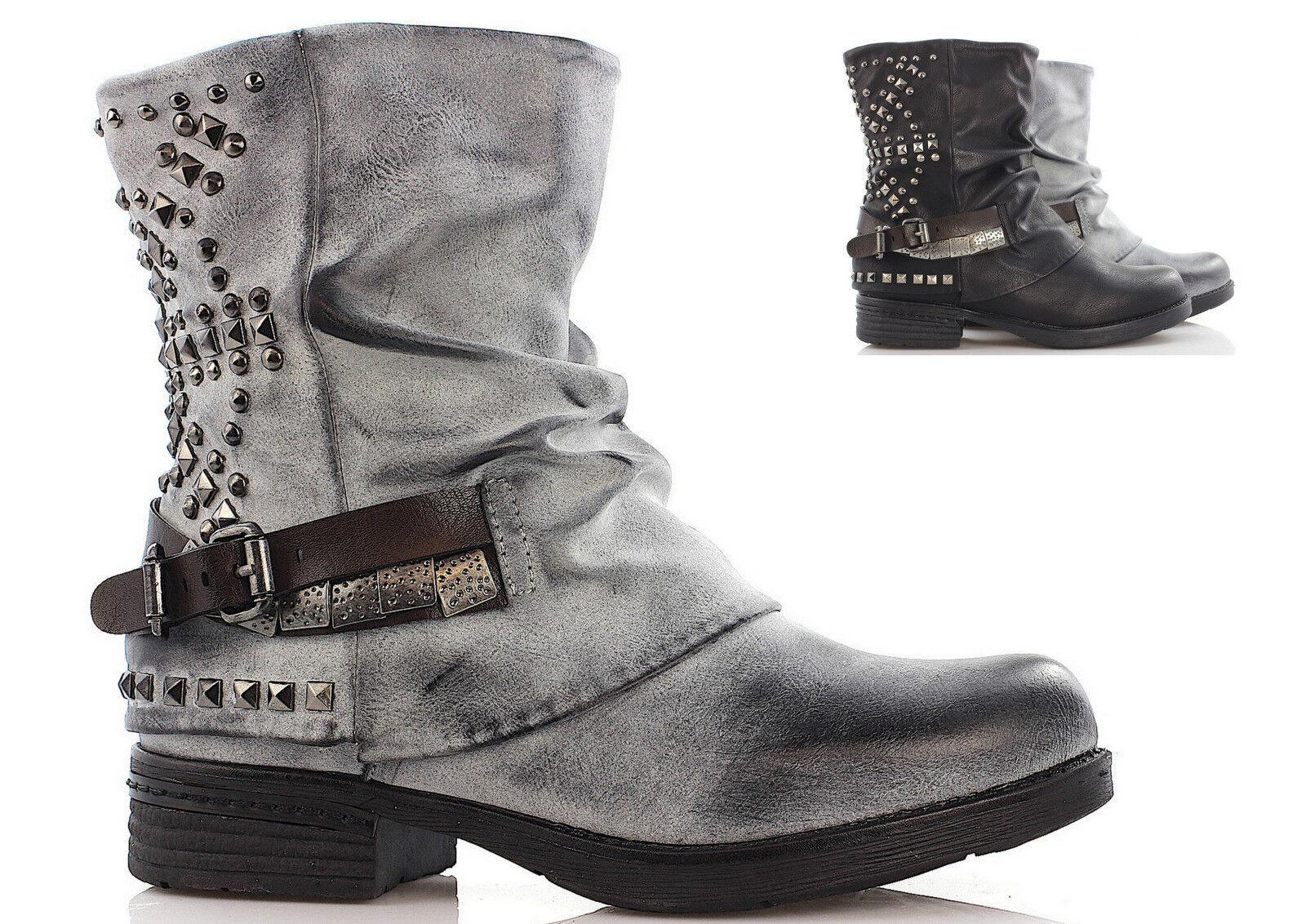 Ladies Ankle Boots Biker Boots Flat Winter shoes Rivets Ladies Boots