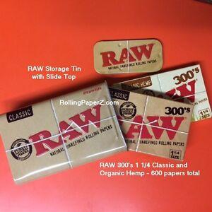 TWO-X-RAW-300s-Organic-Hemp-Classic-Rolling-Paper-Storage-Stash-Storage-TIN