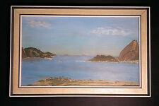 Original antiguo Pintura al óleo: Rio,Pan de azúcar,Brasil. Rareza Thema,buen