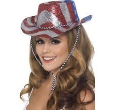 USA Glitter Hat Cowboy Fancy Dress American Flag Stars Stripes Mens Womens Texas