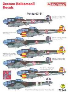 Techmod Decals 1//48 French POTEZ 63-11 Bomber with Masks