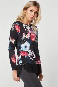 Ex-Roman-Ladies-Black-Floral-Chiffon-Hem-Long-Sleeve-Tunic-Top-Blouse-10-20