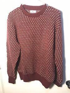 Men-039-s-WOOLRICH-vintage-laine-tricot-Pull-Medium-M-Bordeaux-Rouge-rare-annees-80