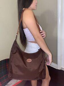 Details about Women's Longchamp Le Pliage Hobo Crossbody Nylon Messenger  Bag Brown