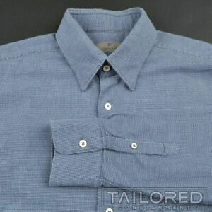 CANALI-Current-1934-Blue-Woven-100-Cotton-Mens-Casual-Dress-Shirt-XL