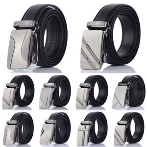 Fashion-Men-Automatic-Buckle-Belt-PU-Leather-Belts-Waist-Ratchet-Waistband-110cm
