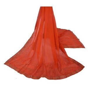 Sanskriti-Vintage-Dupatta-Long-Stole-Georgette-Orange-Scarves-Hand-Beaded-Painte