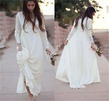 Summer Ivory White Bride Long Sleeve Boho Wedding Dress Bridal Gown Custom Size