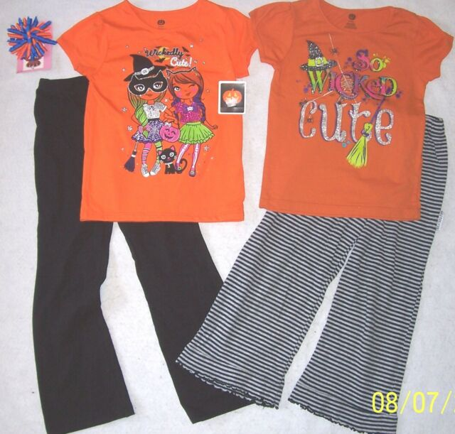 9fd18916301667 5-Pc HALLOWEEN TOPS   SHIRTS   LEGGINGS LOT  MIS TEEV-US  NWT TOP ...