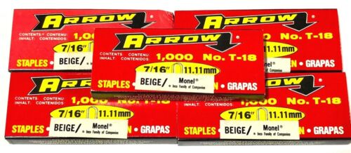 "Arrow T18 716"" Monel Beige Staples 187MB 5000 Staples USA Made"