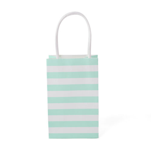 20Pcs Striped Patry Kraft Paper Gift Bag With Recyclable Handle Loot Bags