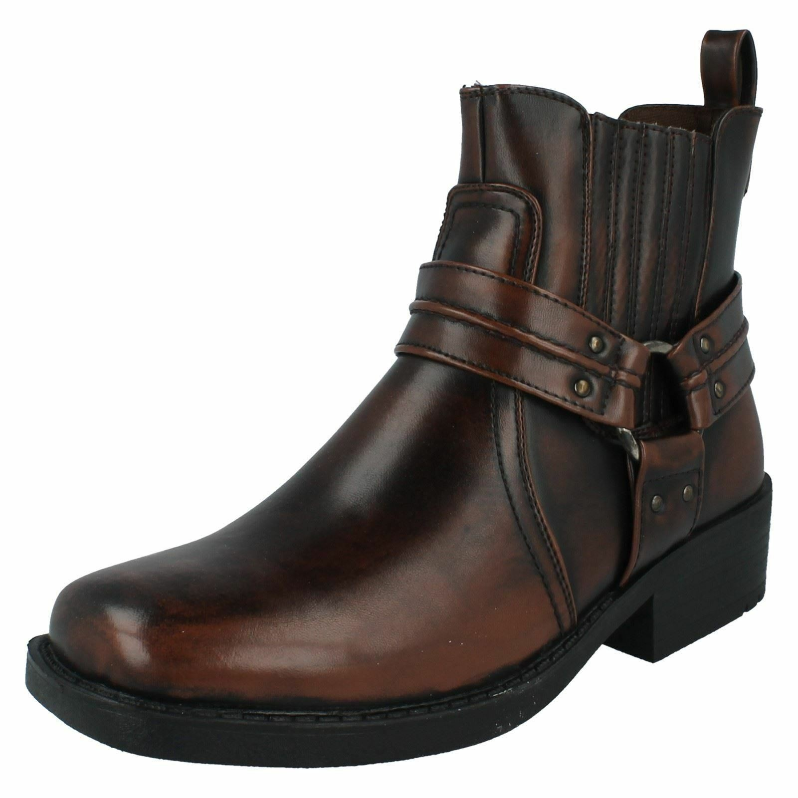 Maverick A3027 Mens Distressed Brown Pull On Ankle Boots (R26B)(Kett)