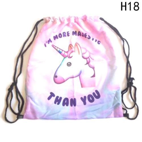 Unicorn Flamingo Backpack Bag Gym Laundry PE Swim Nursery Drawstring Bags Cheap